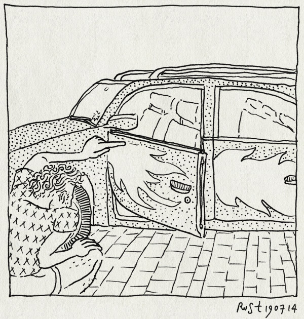 tekening 2612, auto, onderweg, oude amerikaanse auto's, raggare, terugweg, vakantie, vakantie2014, värmland, vlammen, zweden