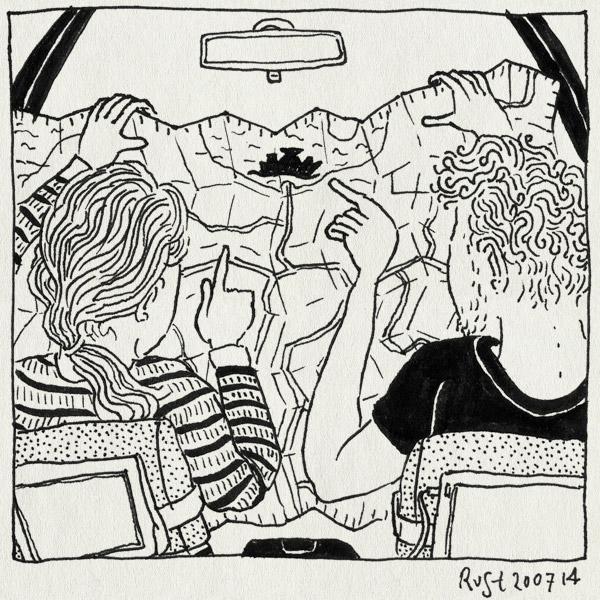 tekening 2613, auto, boot, denemarken, duitsland, kaart, martine, puttgarden, rodby, terugweg, vakantie, vakantie2014, värmland, veerpont, whoops, zweden