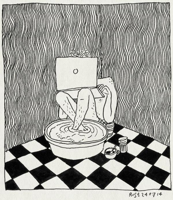 tekening 2617, behang, hitte, laptop, mac, macbook, onderbroek, teiltje, voetenbad, voetenbadje, werken