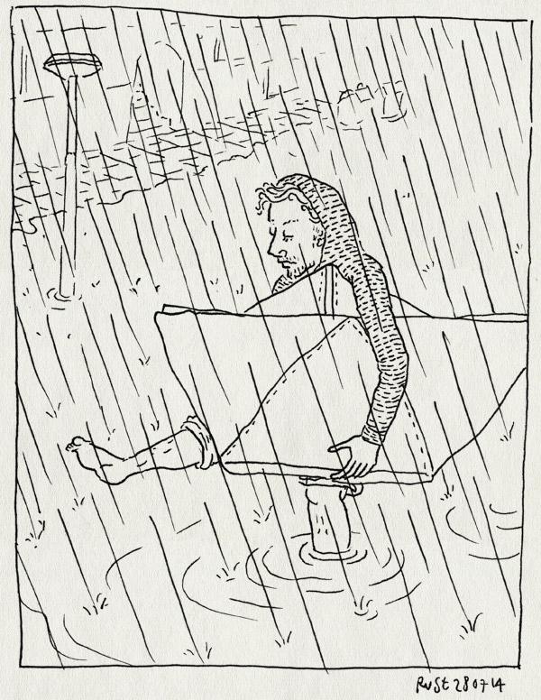 tekening 2621, #noodweer #wateroverlast, amsterdam, bootje, foto, luchtbed, noodweer, papieren bootje, regen, rivier, rivierenbuurt, viral, water, wateroverlast