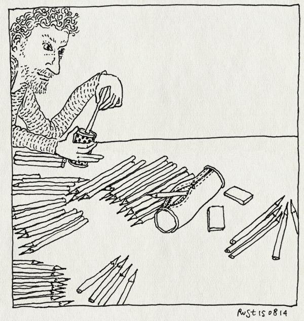 tekening 2639, backtoschool, etui, ogen open, potloden, punten slijpen, puntenslijper, slijpen