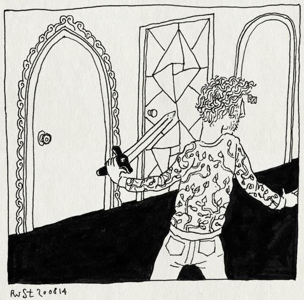 tekening 2643, dixit, drie deuren, probleem, spel, zwaard