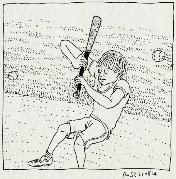 tekening 2645, beeball, eerste keer, honkbal, knuppel, midas, mis, ovvo, sport, twee