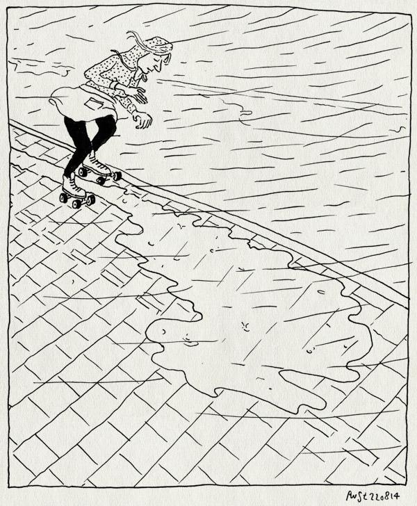 tekening 2646, dom, plassen, skater, slim, stoep, straat, water