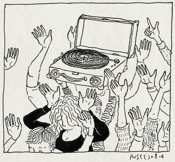 tekening 2647, crossly, feest, feestje, pickup, platenspeler, swordfish and friend, utrecht, winkel opening