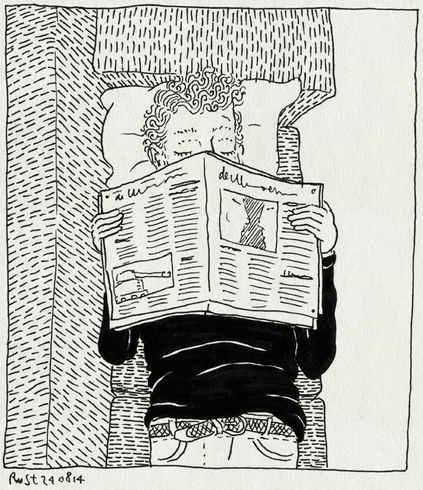 tekening 2648, bah, bank, dutje, kater, krant, moe, nieuws, oorlog, slapen