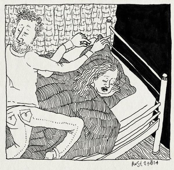tekening 2651, alwine, euro, kabouter tandenstoker, kussen, nacht, slapen, tand, tandenfee, wisselen