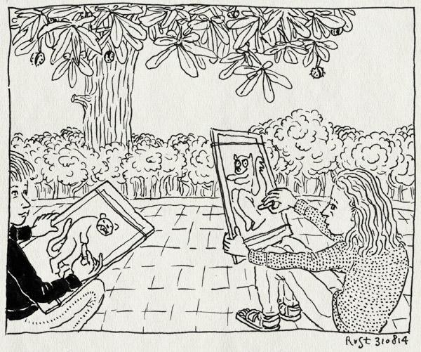 tekening 2655, alwine, artis ateliers, beesten, elkaar, herfst, kastanje, kastanjeboom, midas, natekenen, tekenen