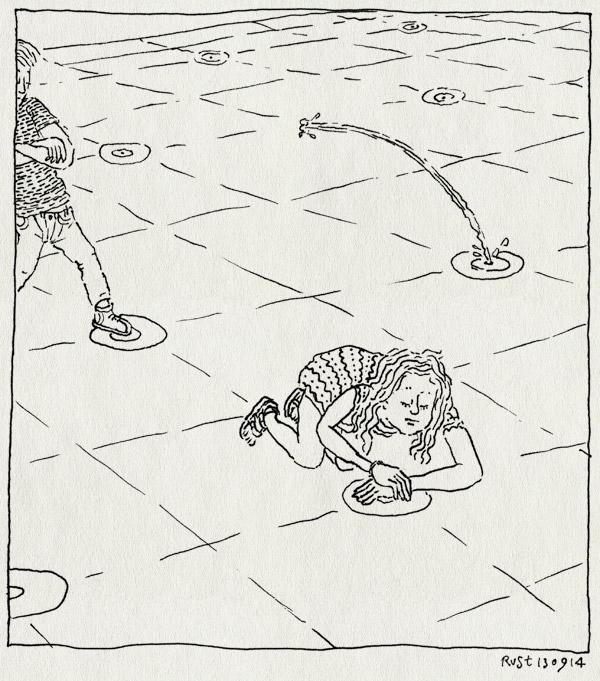 tekening 2668, alwine, dave, duitsland, dusseldorf, fontein, kleve, midas, nat, spelen, tussenstop, water