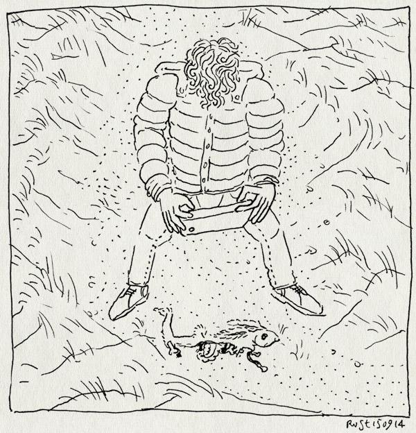 tekening 2670, boek, duinen, foto, konijnen, lezen, martine, texel, winter