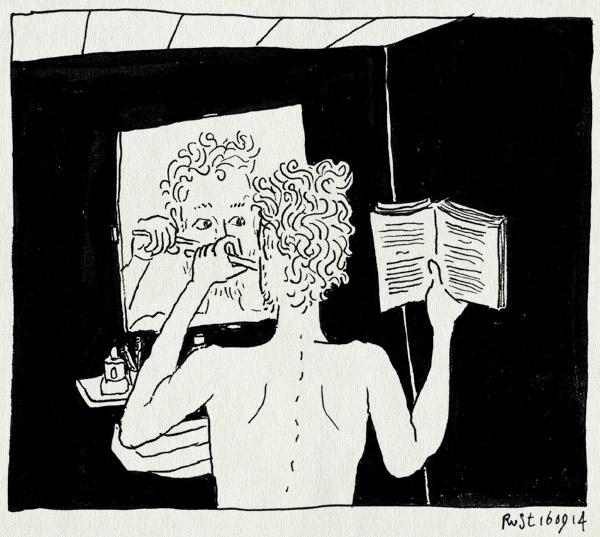 tekening 2671, boek, kobo, lezen, martine, nonstop, ogen open, tendenpoetsen