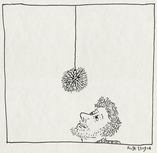 tekening 2678, lamp, lezing, pakhuis de zwijger, pluizenbol, studio drift