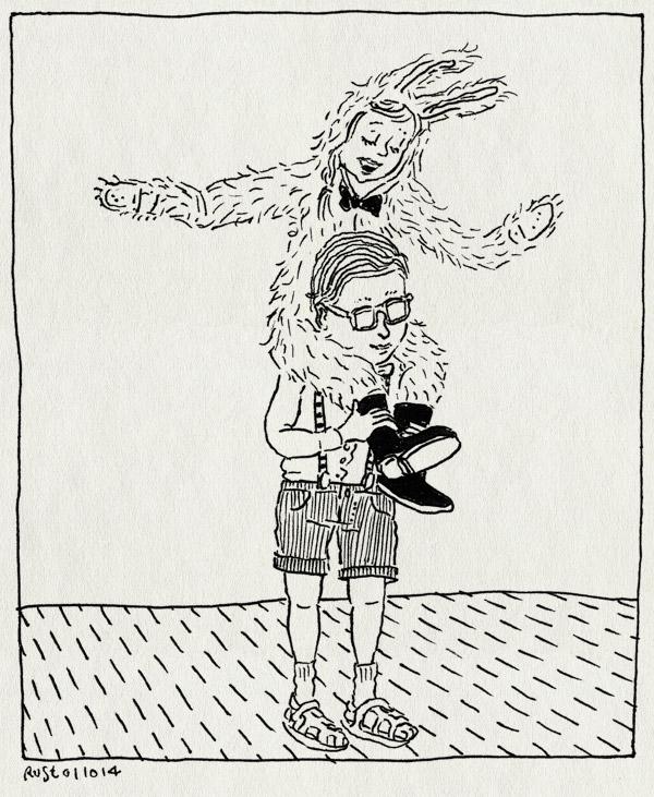 tekening 2686, alwine, kinderboekenweek, konijnenpak, midas, nerd, school, verkleed