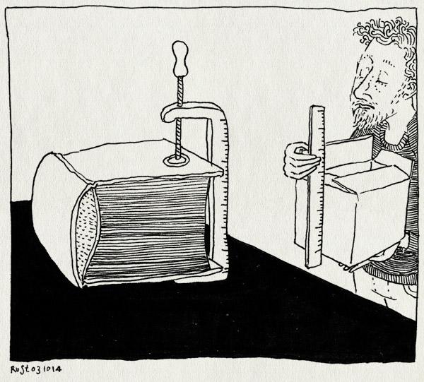 tekening 2688, 2500 dagen rust, boek, dikte, gedoe, lijmklem, maat, meetlat, problemen, wohrmann