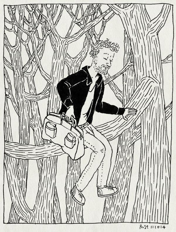 tekening 2696, bomen, boom, bos, boshuttenmiddag, castricum, tas, werken