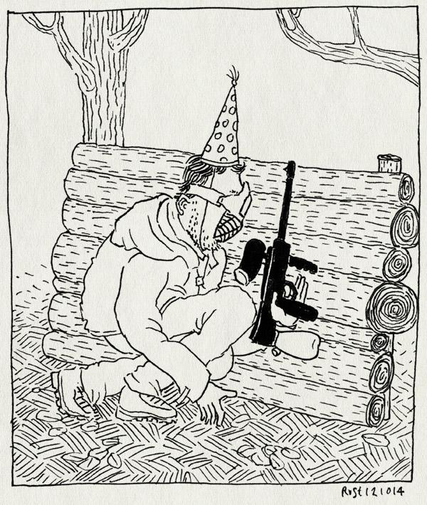 tekening 2697, 38, almere, feest, feestmuts, geweer, gun, jurgen, paintball, paintballen, verjaardag, verschuilen
