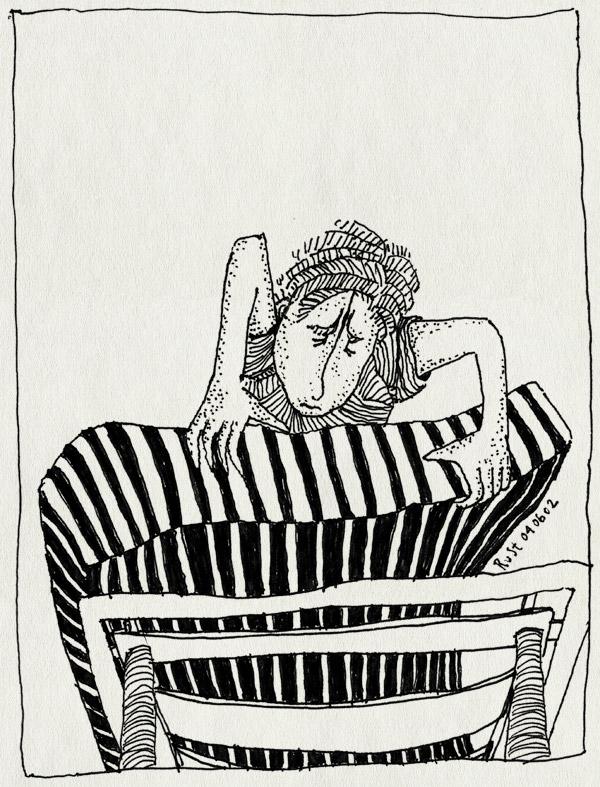 tekening 3, bed, kijken, matras, onderstel, streepjes