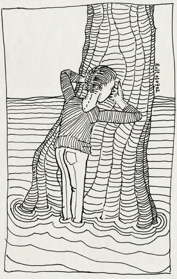 tekening 33, boom, tellen, verstoppertje, water, wie niet weg is is gezien