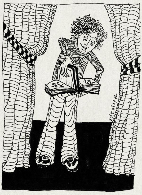 tekening 37, boekje, eerste, krullen, toneel, tweede, vol, volgende