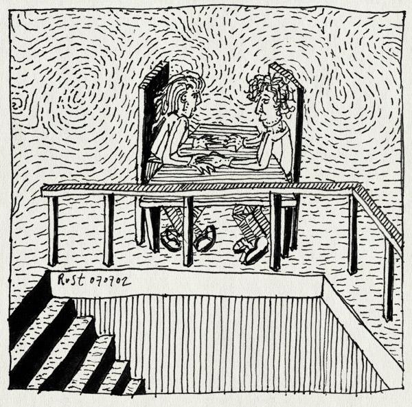 tekening 38, agnes, etentje, jubileum, restaurant, romantisch, ruben, uit eten