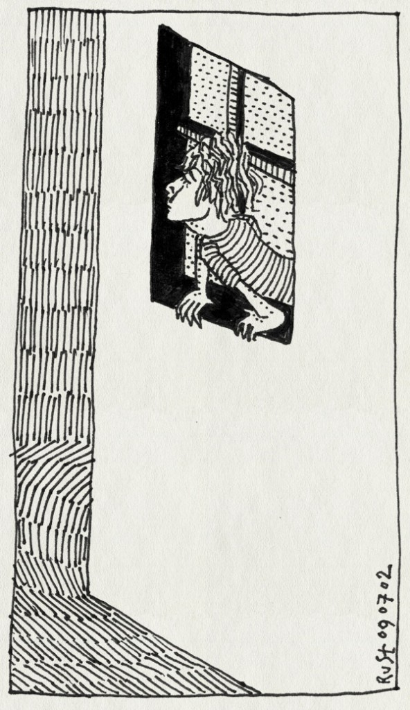 tekening 41, kijken, om de hoek, raam, uit het raam