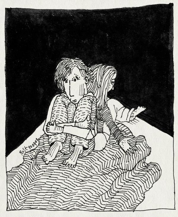 tekening 42, bed, ruzie, twijfel