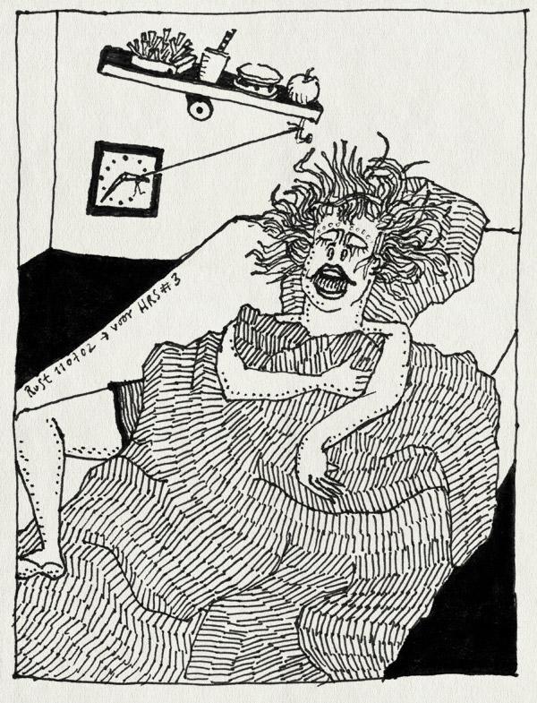 tekening 43, cartoon, eten, hersenspinsels, klok, ochtend, rube goldberg, snacks, wekker