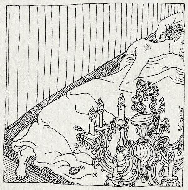 tekening 464, kroonluchter gevallen bed potgieterstraat bed