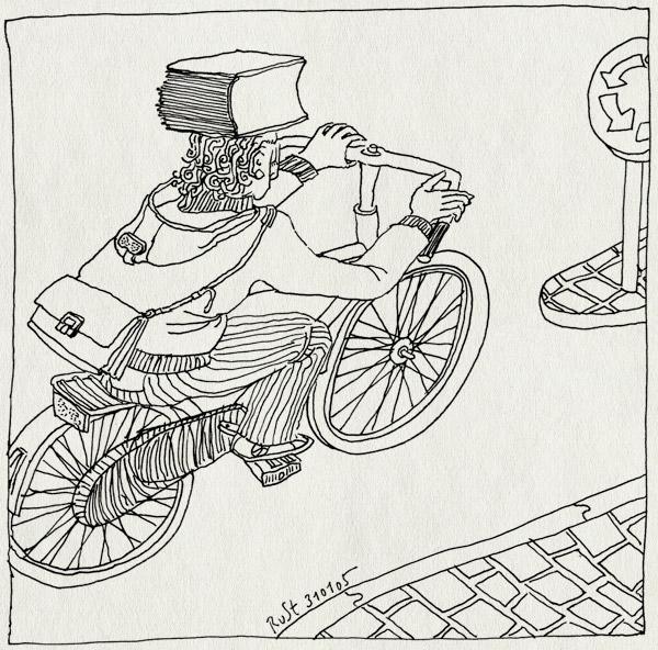 tekening 467, book heavy boek zwaar hoofd fiets rotonde roundabout bike bicycle