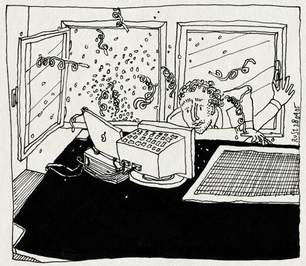 tekening 490, jarig feest serpentine confetti nh49 nieuwe herengracht verrassing