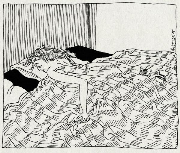 tekening 491, tijger tijgertje kat cat poes bed lakens 10e martine play little klein lief