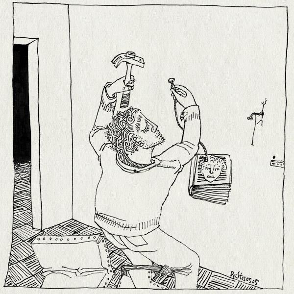 tekening 492, boek ophangen hamer spijker