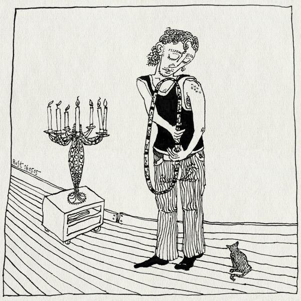tekening 493, tijger tijgertje kat cat poes klein lief hoepel spring kunstje chandelier kandelaar maasstraat kaarsen candles