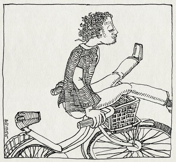 tekening 494, fiets bike mandje sit zit raar voorop