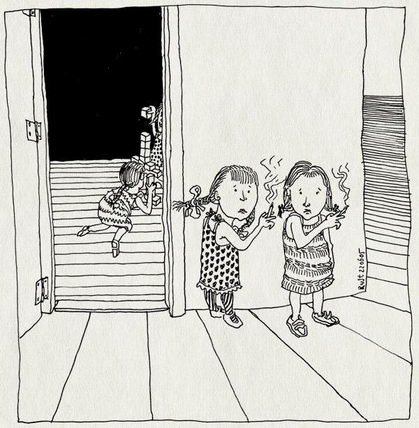 tekening 498, roken kinderen stoppen met roken zielig kinderdagverblijf play blokken cartoon