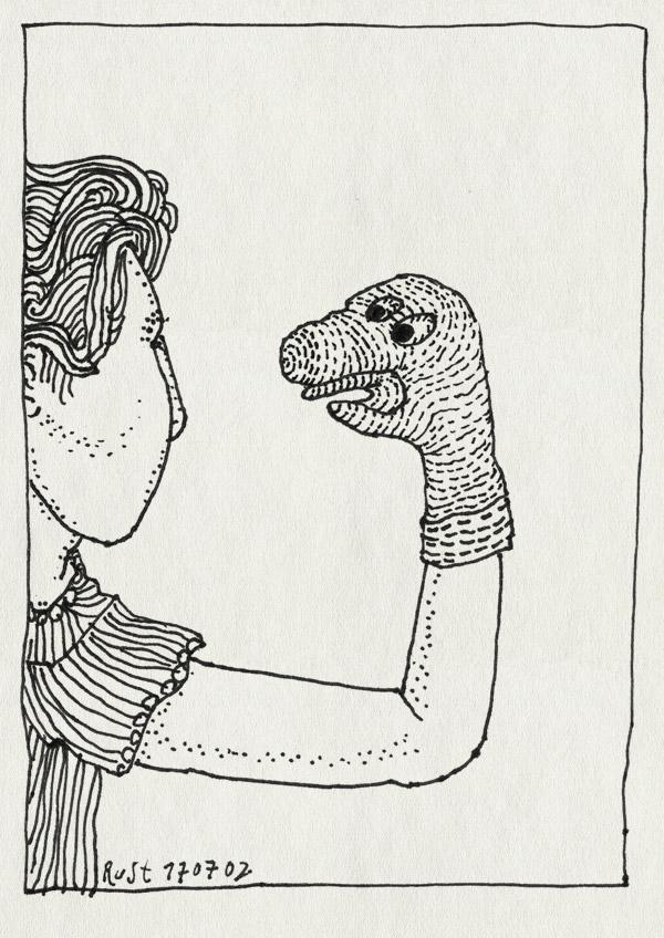 tekening 50, handpop, logopedie, praten, sok, zelf