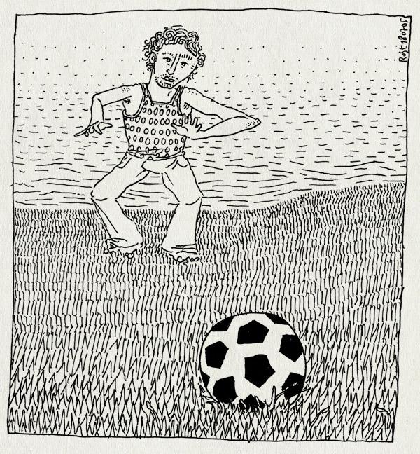 tekening 502, bal voetbal soccer football vijver water vondelpark amsterdam keeper
