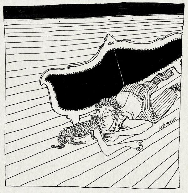 tekening 503, tijger kopjes bank couch grond houten vloer wooden floor wood hout