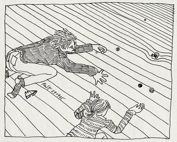 tekening 505, knikkeren knikker knikkers marble marbles thijs sara vloer floor glasses bril