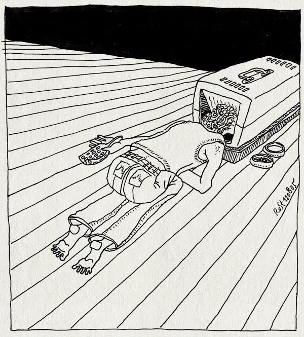 tekening 509, tijger kattenbak cat litter voerbak schepje vloer floor