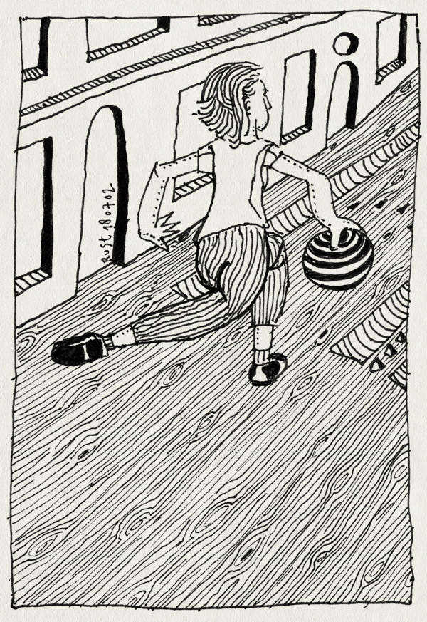 tekening 51, agnes, bowlen, verkeerdom