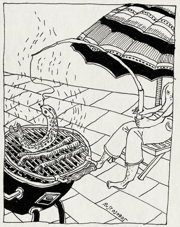tekening 512, rain barbecue vis worst worstje worstjes warmte parasol hengel beet haak hook fish sausage merquez forel truite trout bourgogne frankrijk