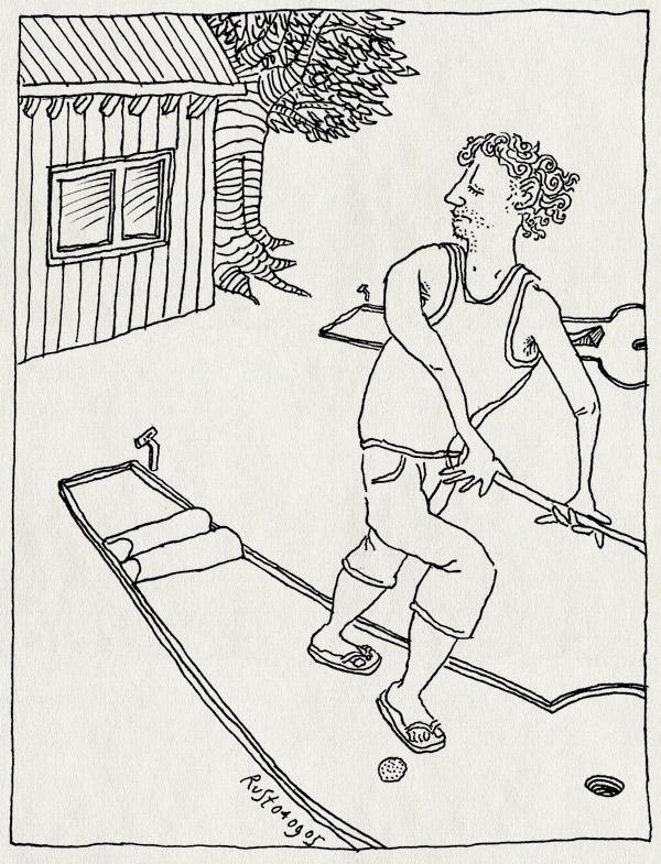 tekening 513, midgetgolf minigolf midget golf mini golf baan huis boom