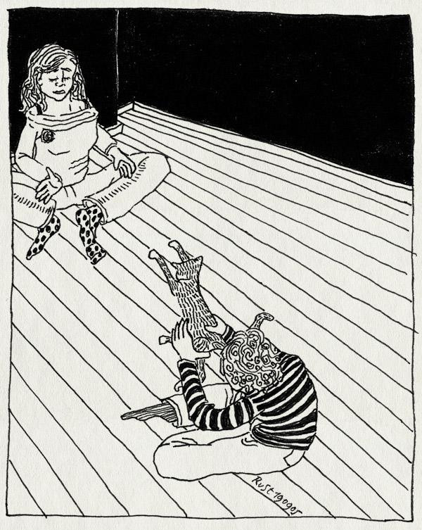 tekening 517, martine tijger ruben vloer streepjes RuSt 10e tiger cat kitten floor throw