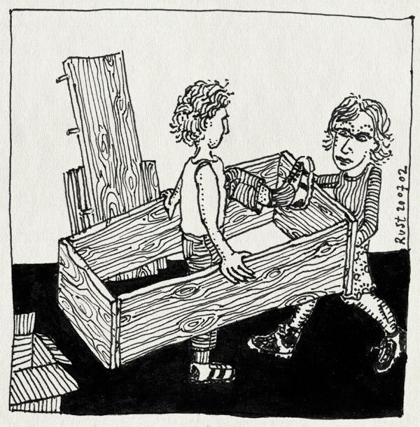 tekening 52, agnes, bril, hout, hulp, kast, samen, slopen, verhuizen