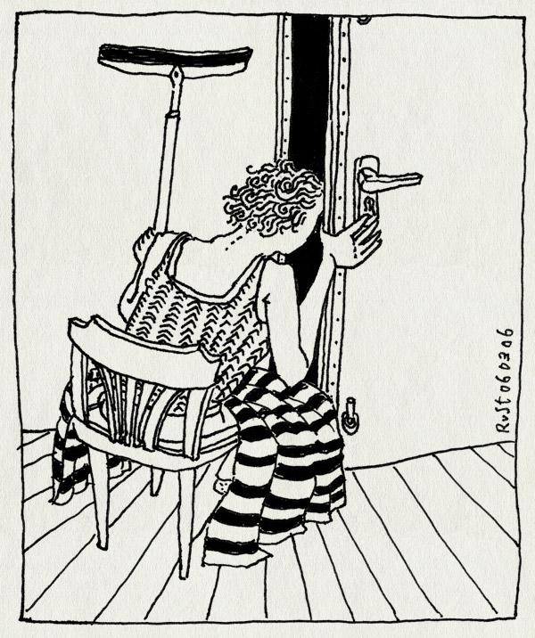 tekening 525, stoel deur buren RuSt maasstraat wisser gang hallway blanket deken door