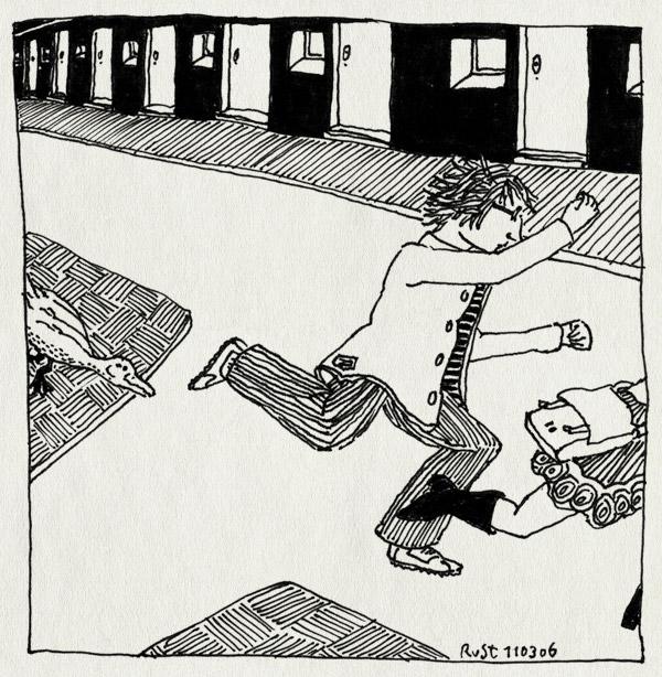 tekening 529, gans thijs sara osdorp straat rennen bang angst run fear running goose street houses huizen