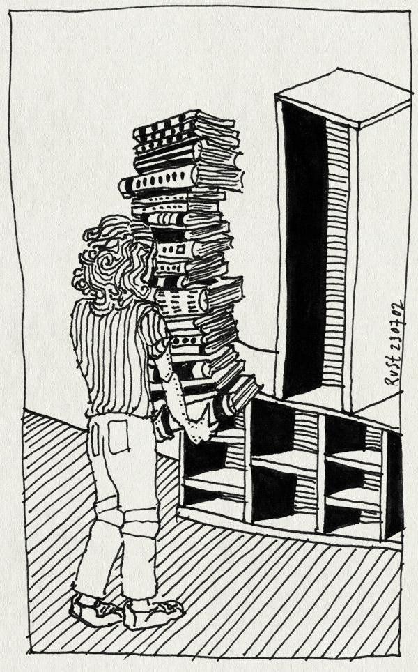 tekening 53, boeken, boekenkast, hoog, op maat, stapel, tillen