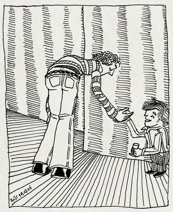 tekening 531, strips in sterio parool stripstrijd flo floor de goede handshake handen schudden paradiso