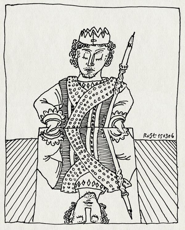 tekening 532, koning heer kroon potlood spiegel nieuwe heeren stripstrijd king crown pencil